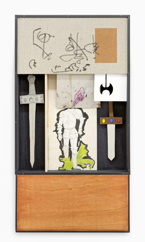 Matthieu Haberard, Mélodie carrée 1, 2021 Carton, Forex, bois teinté, toile 52 × 17 × 98 cm
